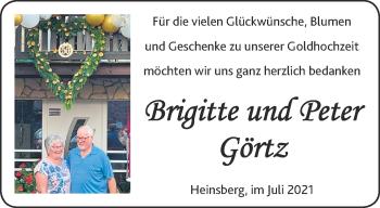 Glückwunschanzeige von Brigitte und Peter Görtz von Aachener Zeitung / Aachener Nachrichten