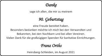 Glückwunschanzeige von Franz Orths von Aachener Zeitung / Aachener Nachrichten