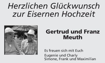 Glückwunschanzeige von Gertrud und Franz Meuth von Aachener Zeitung / Aachener Nachrichten
