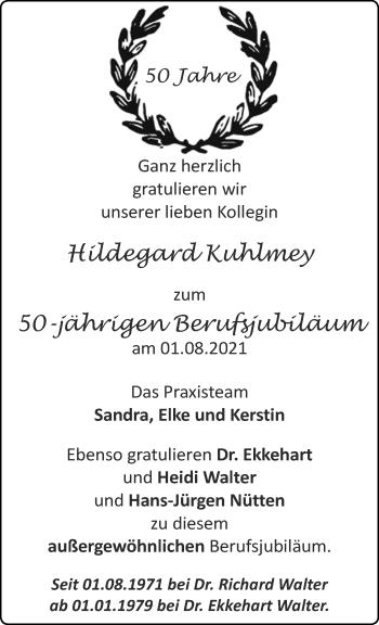 Glückwunschanzeige von Hildegard Kuhlmey von Aachener Zeitung / Aachener Nachrichten