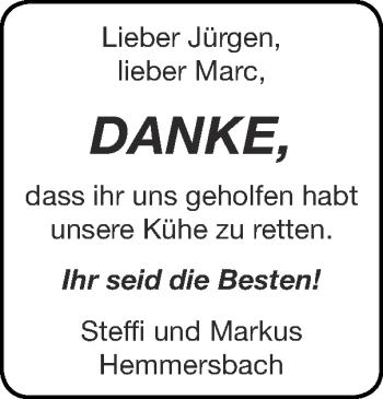 Glückwunschanzeige von Jürgen und Marc  von Zeitung am Sonntag