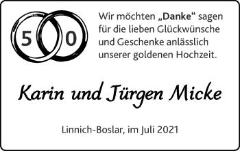 Glückwunschanzeige von Karin und Jürgen Micke von Zeitung am Sonntag