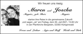 Glückwunschanzeige von Maren und Joscha Mayntz von Zeitung am Sonntag