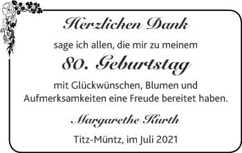 Glückwunschanzeige von Margarethe Kurth von Zeitung am Sonntag