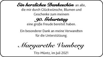 Glückwunschanzeige von Margarethe Vomberg von Aachener Zeitung / Aachener Nachrichten