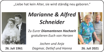 Glückwunschanzeige von Marianne und Alfred Schneider von Zeitung am Sonntag