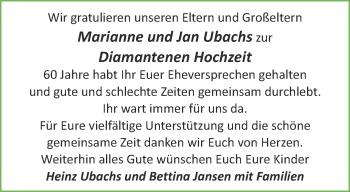 Glückwunschanzeige von Marianne und Jan Ubach von Aachener Zeitung / Aachener Nachrichten