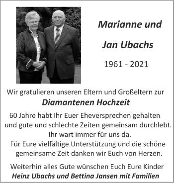 Glückwunschanzeige von Marianne und Jan Ubachs von Zeitung am Sonntag