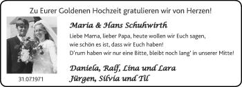 Glückwunschanzeige von Maria und Hans Schuhwirth von Aachener Zeitung / Aachener Nachrichten