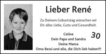 Glückwunschanzeige von René  von Zeitung am Sonntag