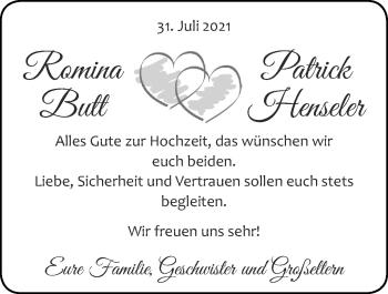 Glückwunschanzeige von Romina und Patrick  von Zeitung am Sonntag