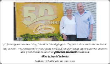 Glückwunschanzeige von Theo und Ingrid Schmitz von Zeitung am Sonntag