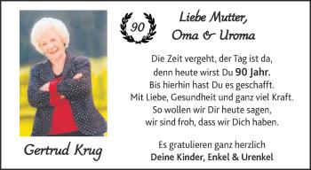 Glückwunschanzeige von 90zigster Geburtstag  von Aachener Zeitung / Aachener Nachrichten