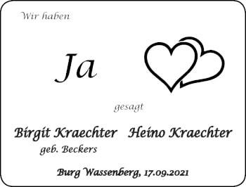 Glückwunschanzeige von Birgit und Heino Kraechter von Zeitung am Sonntag