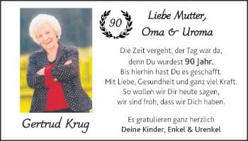 Glückwunschanzeige von Gertrud Krug von Zeitung am Sonntag