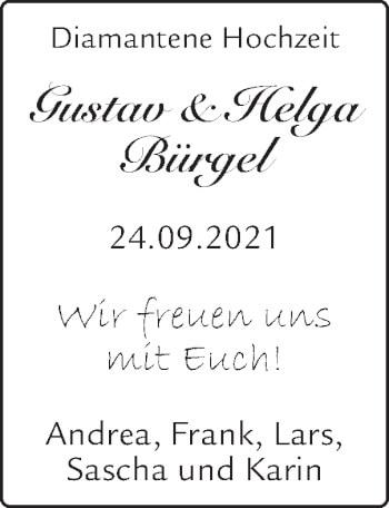 Glückwunschanzeige von Gustav und Helga Bürgel von Zeitung am Sonntag