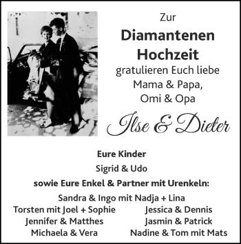 Glückwunschanzeige von Ilse und Dieter  von Zeitung am Sonntag