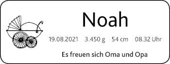 Glückwunschanzeige von Noah  von Zeitung am Sonntag