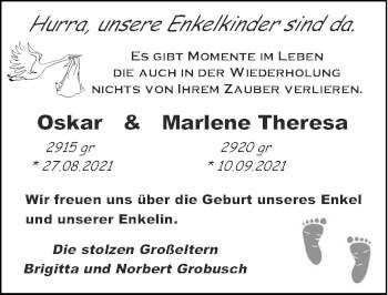 Glückwunschanzeige von Oskar und Marlene Theresa  von Zeitung am Sonntag