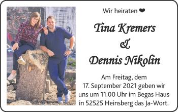 Glückwunschanzeige von Tina und Dennis  von Zeitung am Sonntag
